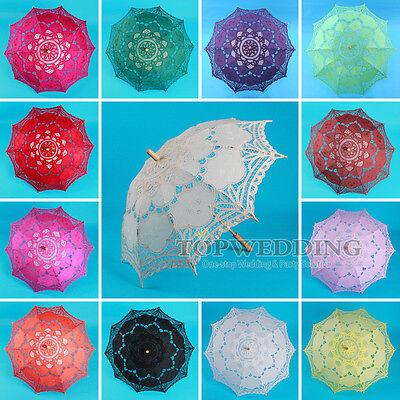 "30"" Handmade Embroidery Battenburg Lace Cotton Parasol Bridal Wedding Umbrella"