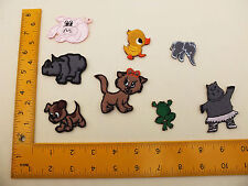 EMBROIDERED Iron / Sew On Patches set dog cat hippo duck rhino pig elephant frog