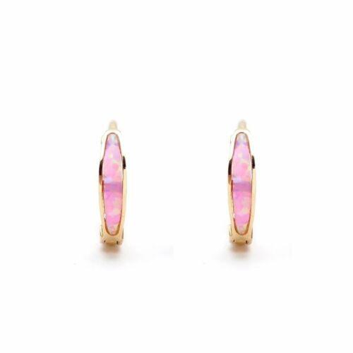 Real 14K Yellow White Gold Opal Earrings Hoop Huggies Fire Red Green Blue Pink