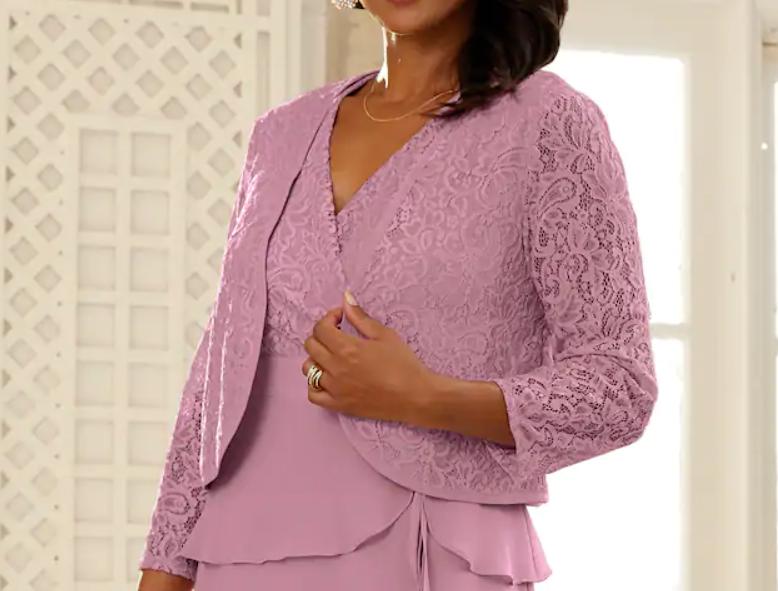 Size 16 Midnight Velvet Mauve Formal Wedding Church Party Allie Lace Jacket