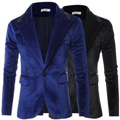 """Romantisch Mens Velvet Blazer Suede Jacket Adults Smart Slim-fit Coat 36""""/38""""/40""""/42"""" Durchblutung GläTten Und Schmerzen Stoppen"""