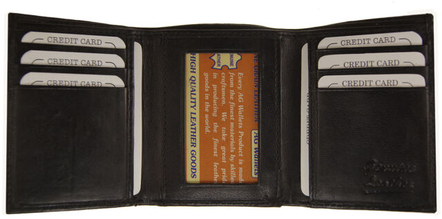 men s genuine leather trifold wallet black 8 credit card slots id