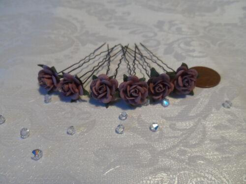 6 ROSE Capelli Pin Nuziale Capelli Fiori Damigelle Flowergirl Partito