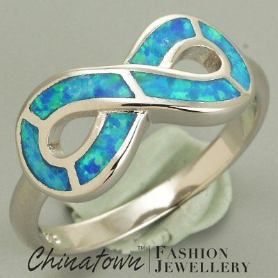 Infinity Symbol Ocean Blue Fire Opal Inlay Silver Jewelry Band Ring Size 7