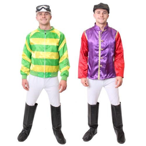 MEN/'S JOCKEY COSTUME HORSE RIDER RACING FANCY DRESS GREEN YELLOW PURPLE RED
