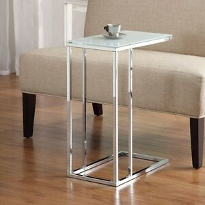 Accent Living Room Chrome Base Snack Side Stand Table Sofa W