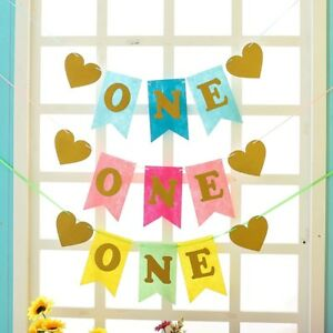 Image Is Loading Baby ONE 1st Birthday Party Banner Garland High