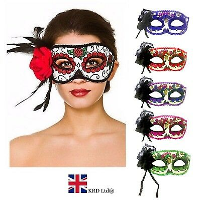 Deluxe Giorno Dei Morti Rose Eye Mask Senorita Halloween Fancy Dress Accessorio Uk-mostra Il Titolo Originale Aspetto Attraente