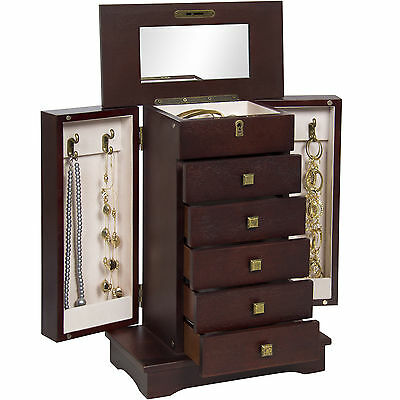 Handcrafted Wooden Jewelry Box Organizer Wood Armoire Cabinet
