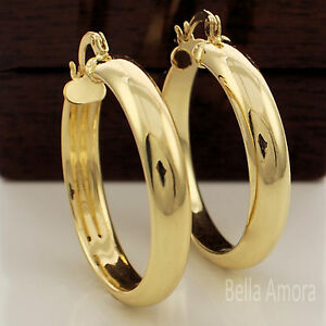 Image Is Loading Chunky 9ct Yellow Gold Plated Smooth Round Hoop