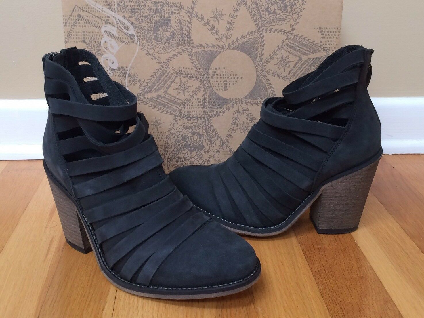 FREE PEOPLE 'Hybrid Heel' Strappy Leather Ankle Boot Size 36 US New