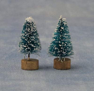 Dolls House 2 Evergreen Pine Trees Miniature Christmas Garden Scene Accessory