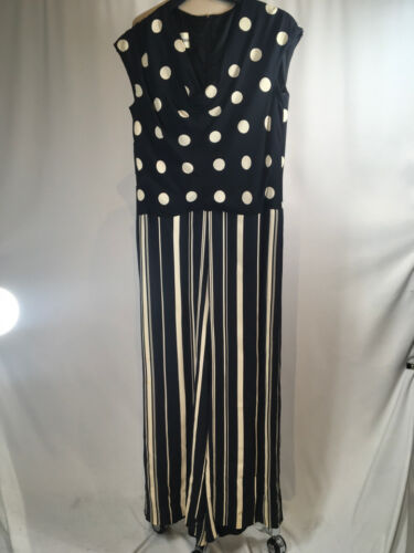 Rudi Gernreich Navy Blue & White Polka Dot Striped