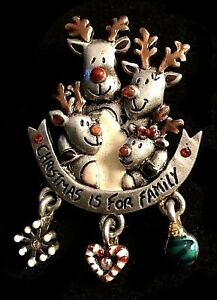 Scatter pin Vintage enamel lapel pin Rare AJMC Rudolph Reindeer pewter tone tack pin with bell Stocking stuffer Christmas brooch