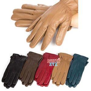 New-Women-039-s-Winter-Warm-Genuine-Leather-Gloves-Thermal-Insulation-Lambskin