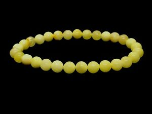 Natural-BALTIC-AMBER-BRACELET-Round-Beads-Yellow-Butter-Elastic-Ladies-5g-12501