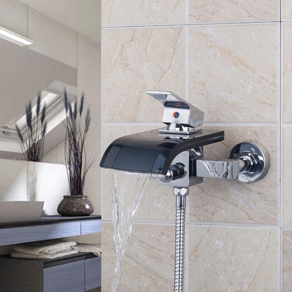 Verre Noir 2 trous bain mural évier cascade bassin mitigeur robinet