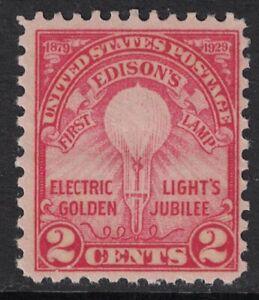 Scott-655-Edison-039-s-Primo-Lampada-Rotante-Premere-Issue-MNH-2c-1929-Non-Usato