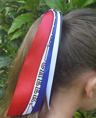 Team/School Colors Ribbon Streamer Ponytail Holder, Choose Your Sport & Colors