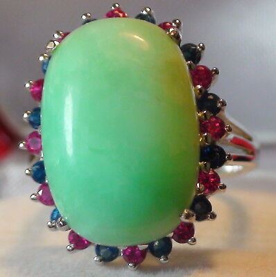 RARE! 9.90 ct NATURAL BLUISH GREEN PERU OPAL RING 925 STERLING SILVER.SIZE 7.0