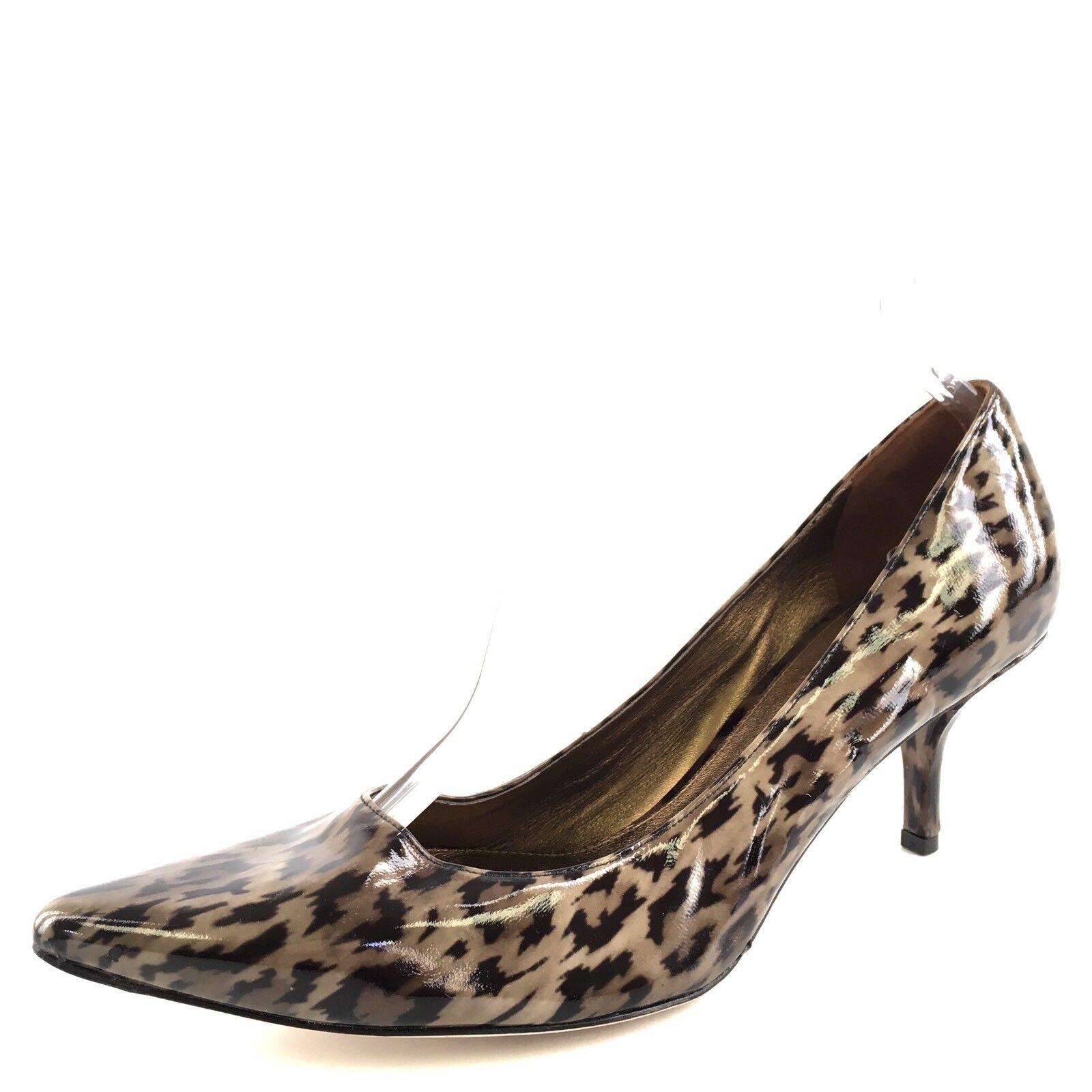 NEU Via Spiga Carola Leopard Print Leder Pointy Toe Pumps Damenschuhe Größe 10.5 M