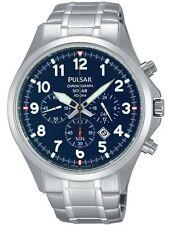 Pulsar Men's PX5037 Solar Chronograph Analog Display Blue Dial Silver Watch