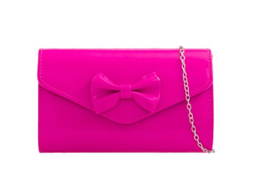 New Women's Pretty Bow Shiny Faux Leather Shoulder Chain Clutch Bag