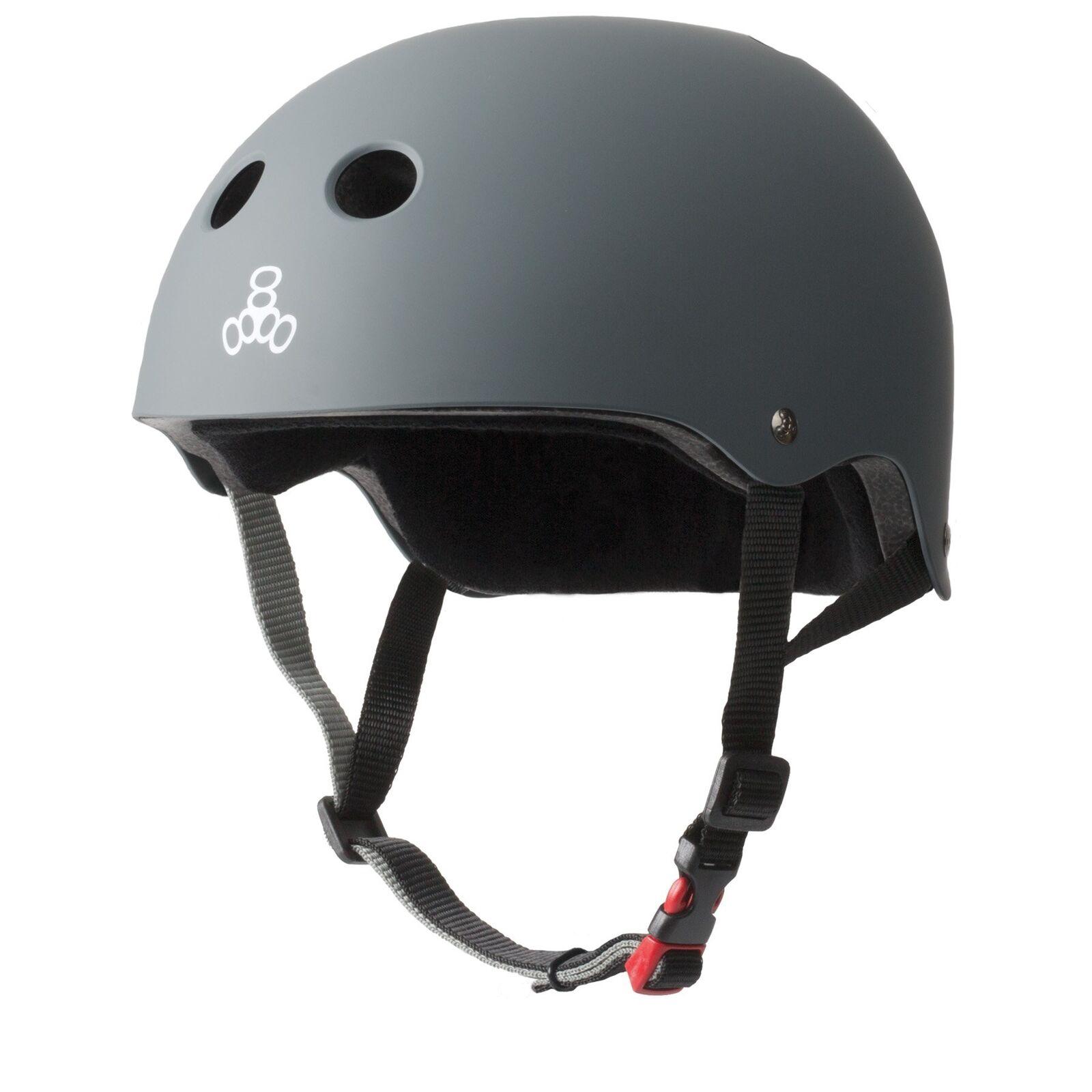 Triple 8 Zertifizierter Sweatsaver Helm - Gummi Kohlenstoff Kohlenstoff Kohlenstoff Grau 3638ef