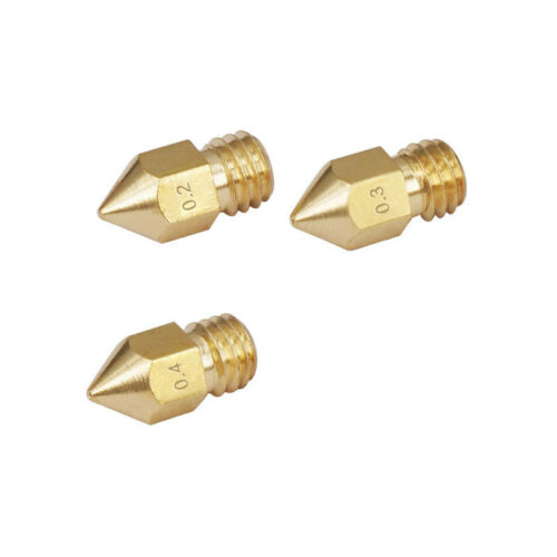 10pcs 0.2//0.3//0.4mm MK8 Extruder Nozzle Brass for 3D Printer Makerbot Creality