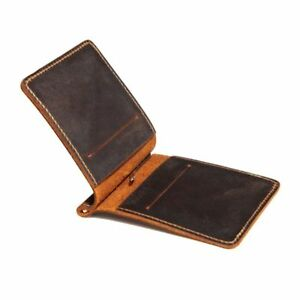 Portable-Ultra-Thin-Simple-Money-Clip-Leather-Card-Holder-Bifold-Mini-Wallet-New