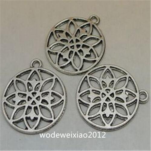 12pc Tibetan Silver flower Charm Bead Pendant Jewellery Making Accessories JP838
