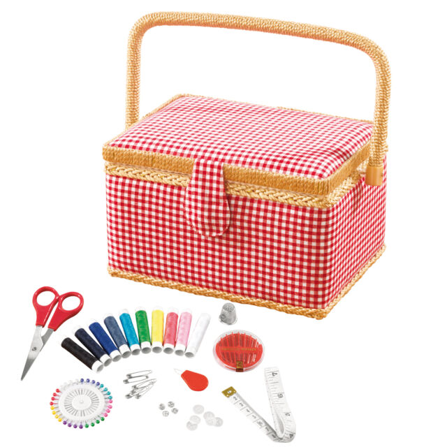 easymaxx Sewing Basket with 76 Pieces Accessory IMPLEMENTS Box Hobby Set