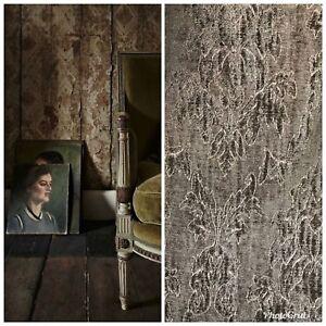 SWATCH-Designer-Velvet-Chenille-Burnout-Fabric-Antique-Olive-Green