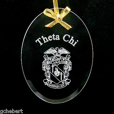 Theta Chi, ΘΧ, Ornament/Sun Catcher Name & Crest Beveled Crystal Oval