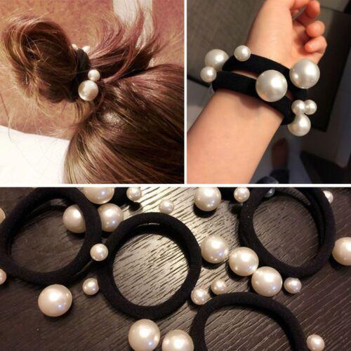 2x Femmes Fille Douce élastique Coiffure Perle Blanche épingle Mode Queue Cheval