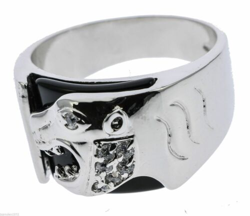 Onyx Panther Men/'s Ring Russian Cz Accents White Gold Overlay Size 11