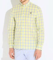 Fred Perry Tartan Gingham Mix Men's Long Sleeve Shirt M8274-540 - ICE LEMON