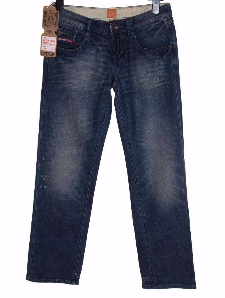 Bnwt Women's Superdry Zipper Denim Loose Jeans W28  L32  New