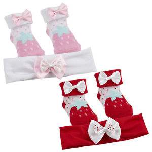 Baby Girl New Cute bow strawberry print Socks And Headband Set 0- 6 ... cb8b42b67a7