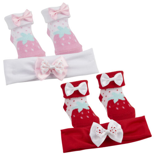 Baby Girl New Cute bow strawberry print Socks And Headband Set  0-6 12 Months