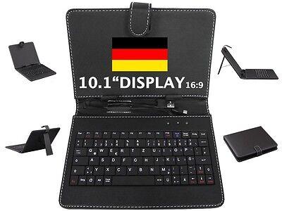 Tablet USB Tastatur Tasche BookStyle PU Leder 10.1 Zoll DEUTSCH QWERTZ