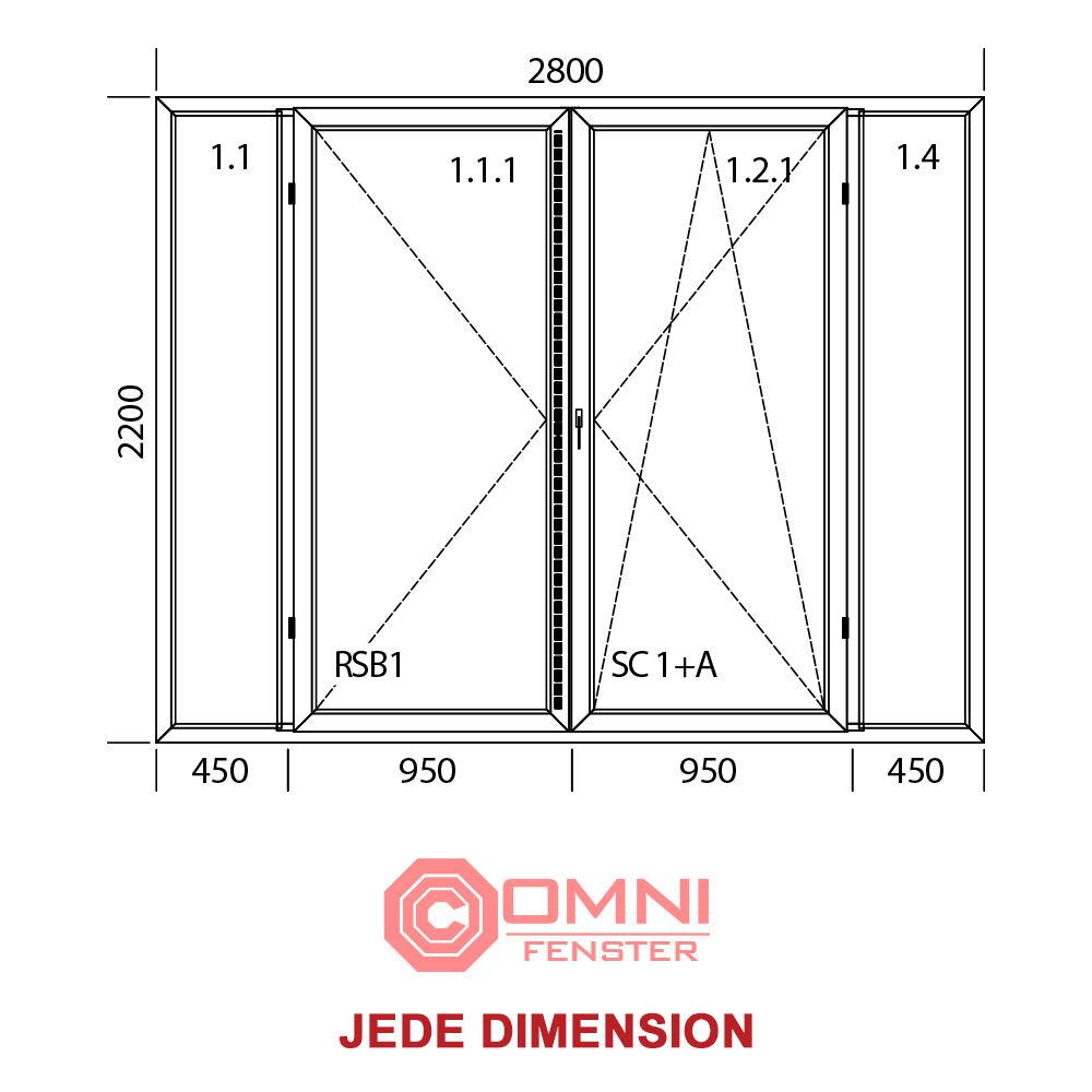 Tür Terassentür PVC DREH-KIPP 4-flg weiß 2800mm x 2200mm BESTE QUALITÄT