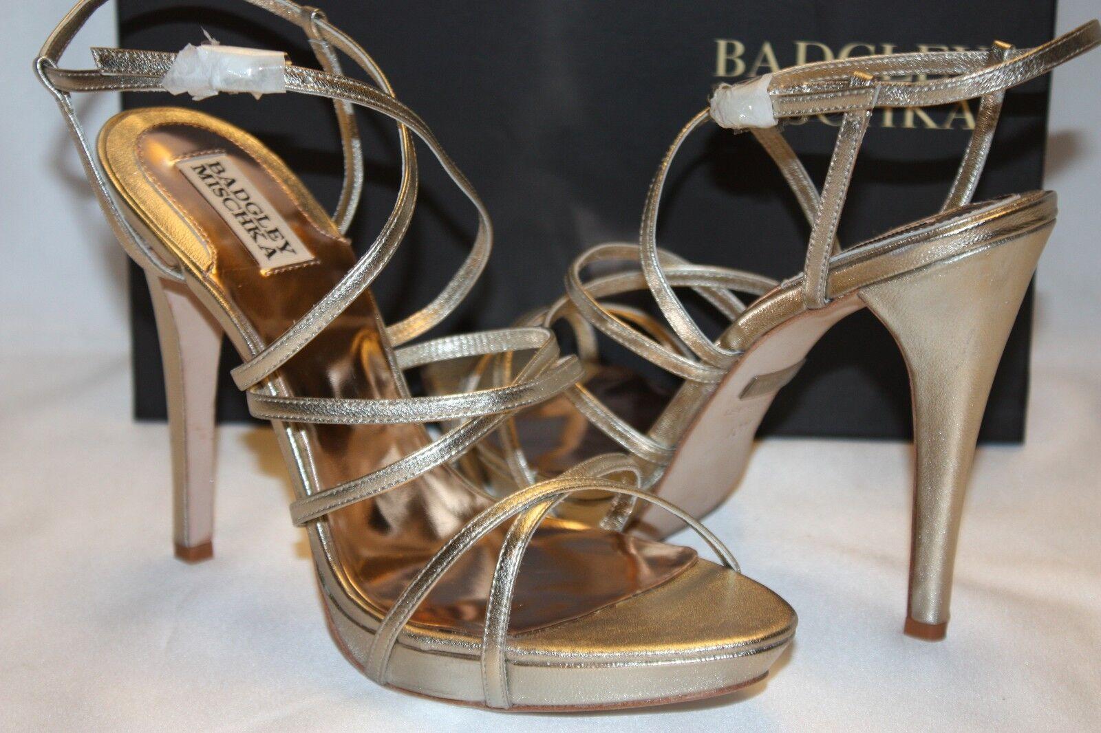 NEU NIB BADGLEY MISCHKA Platino Leder IDOL Strappy Bridal Wedding Heel 10 175