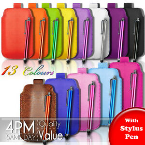 Premium-PU-Leather-Pull-Tab-Pouch-Case-Cover-amp-Stylus-For-Various-Nokia-Mobiles