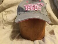 Menards Stitched Distressed Logo Pink& Grey Adjustable Baseball Hat Cap