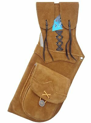 TRADITIONAL ARCHERY SUEDE LEATHER SIDE//HIP ARROW QUIVER AQ-112 LEFT
