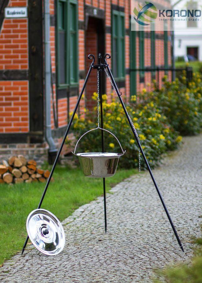 Korono Treppiedi con edelstalschwenktopf,Pentola per gulash 14 L,altezza 180
