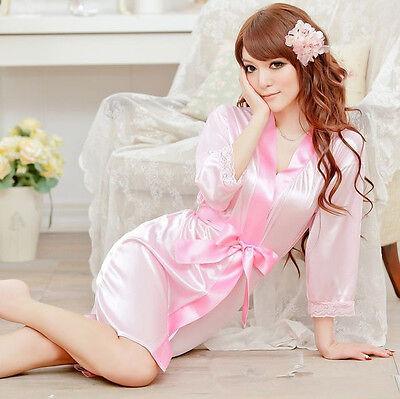 Women Sexy Satin Lace Robe Sleepwear Lingerie Nightdress G-string Pajamas