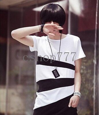 New Top Stylish Mens Korean Slim Fit Casual Short Sleeved Pieced T-shirts Size