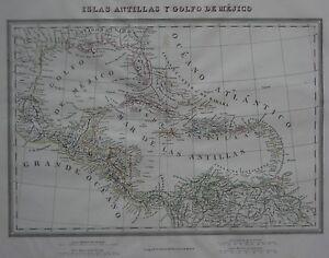 Map Of Florida Cuba And Puerto Rico.Original 1835 Spanish Map Florida West Indies Cuba Puerto Rico